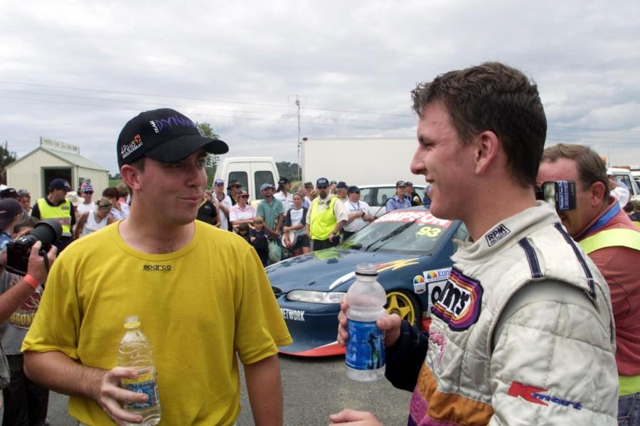Wills, left, with Paul Dumbrell in 2001