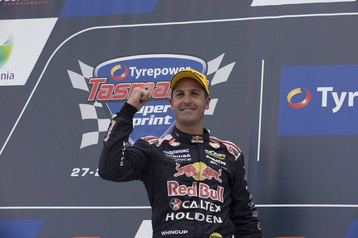 Jamie Whincup of Red Bull Racing Australia during the Tyrepower Tasmania SuperSprint, Event 02 of the 2015 Australian V8 Supercar Championship Series at the Symmons Plains Raceway, Launceston, Tasmania, March 29, 2015.