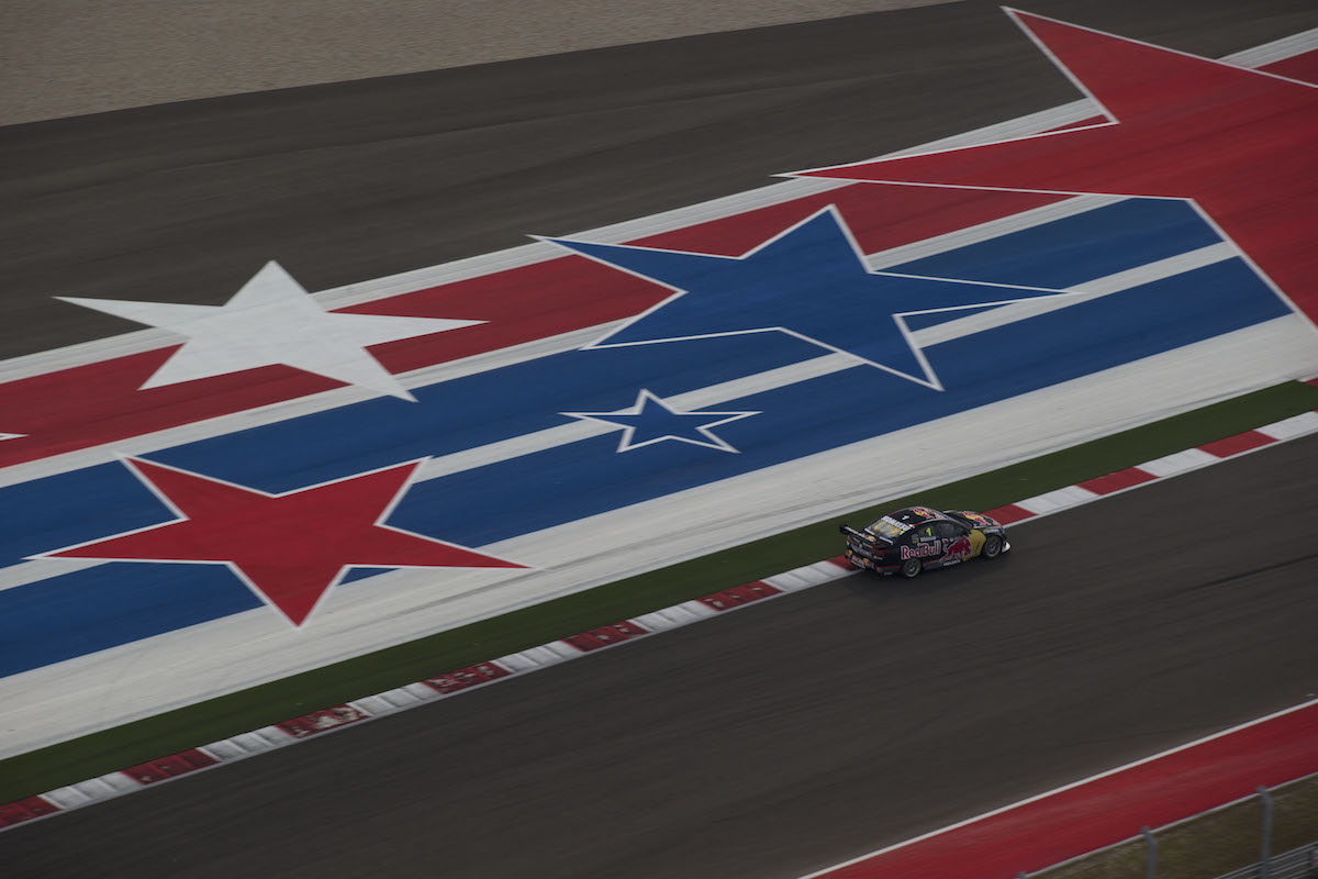 Jamie Whincup of Red Bull Racing Australia during the Texas 400, event 05 of the 2013 Australian V8 Supercar Championship Series at the Circuit of the Americas, Austin, Texas, May 19, 2013.
