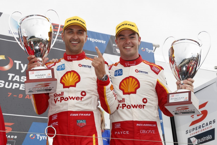 Fabian Coulthard and team mate Scott Mclaughlin finish 1st and 2nd during the Tyrepower Tasmania SuperSprint,  at the Symmons Plains Raceway, Launceston, Tasmania, April 09, 2017.