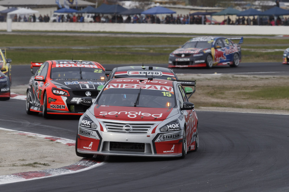 Rick Kelly of the Nissan Motorsport during the Woodstock Winton SuperSprint,  at the Winton Motor Raceway, Winton, Victoria, May 21, 2016.