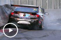 Golding gets stuck in new tyre wall