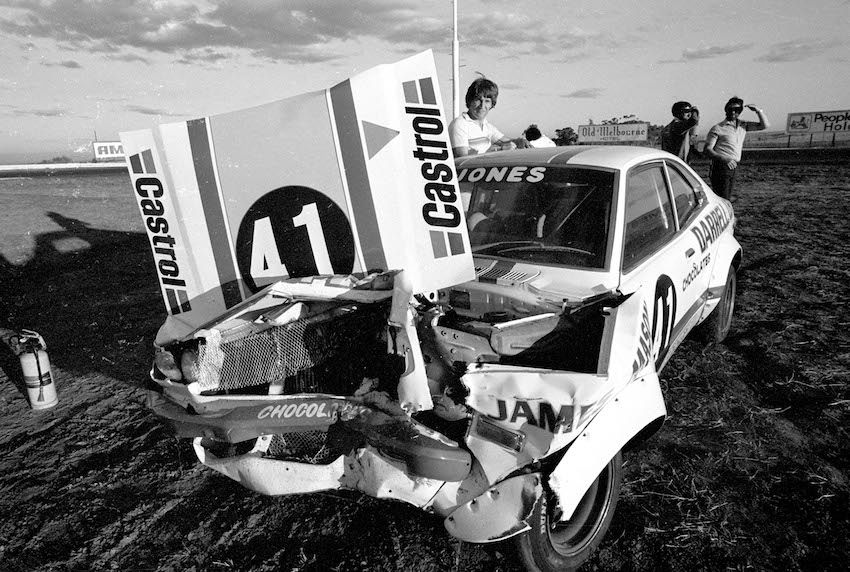 Barry Jones' Mazda suffered a heavy hit