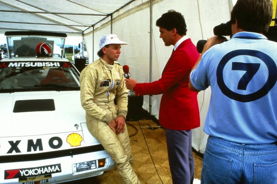 Crompton interviewing friend Brad Jones in 1986