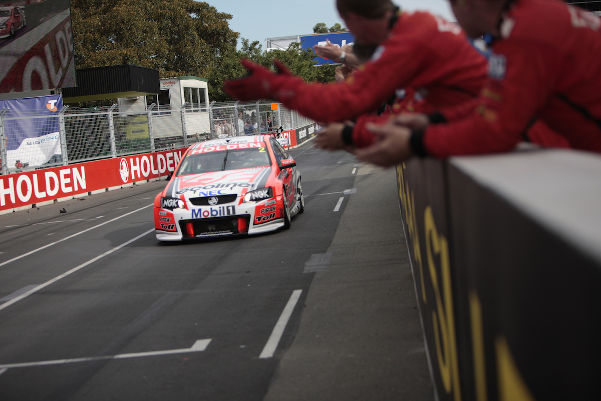 Garth Tander of the Holden Racing Team during the Sydney Telstra 500, Event 14 of the Australian V8 Supercar Championship Series at the Homebush Street Circuit, Sydney, New South Wales, December 05, 2009.