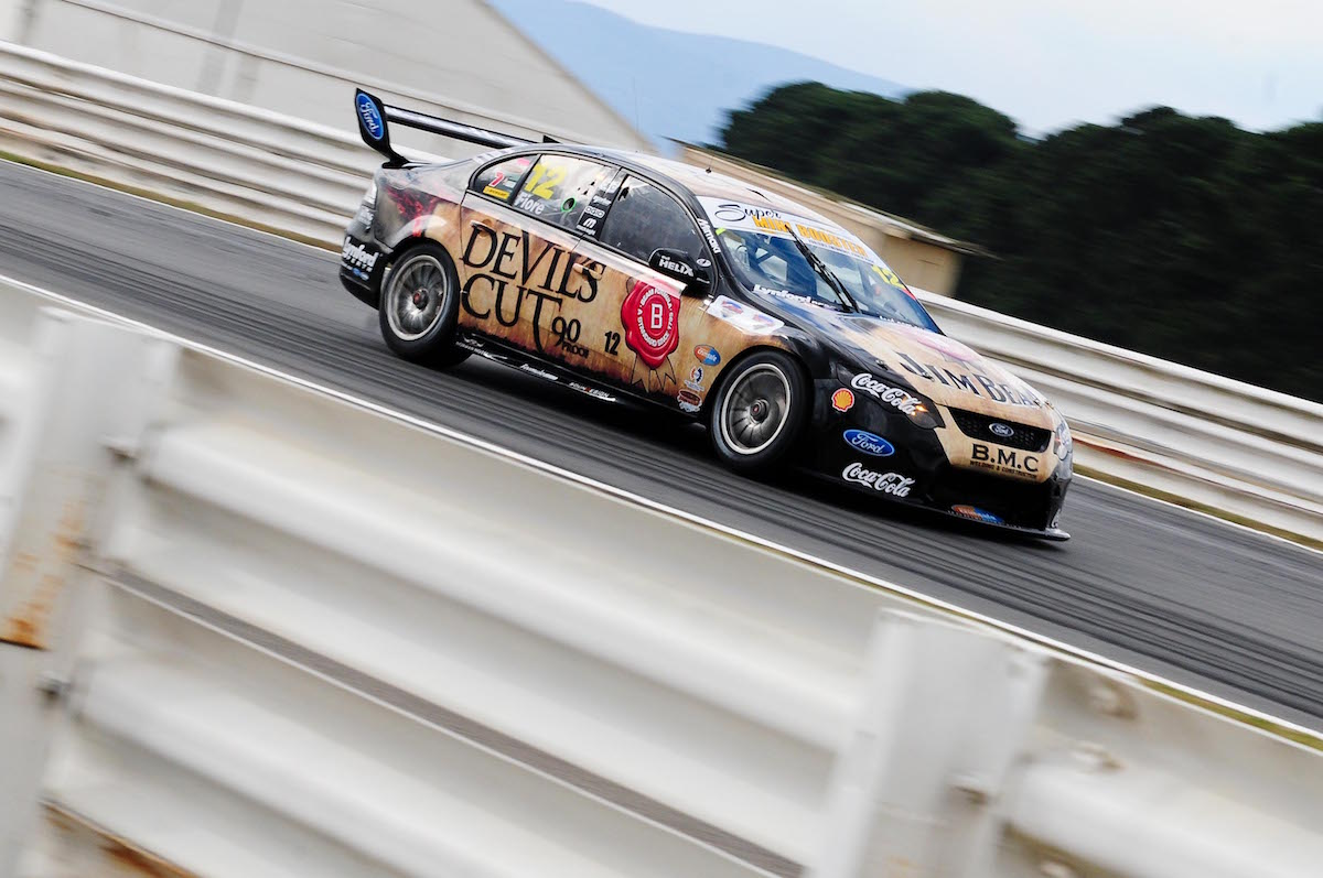 V8 Supercars take to the track for Friday practice at the 2012 Tasmania Challenge, Symmons Plains Raceway