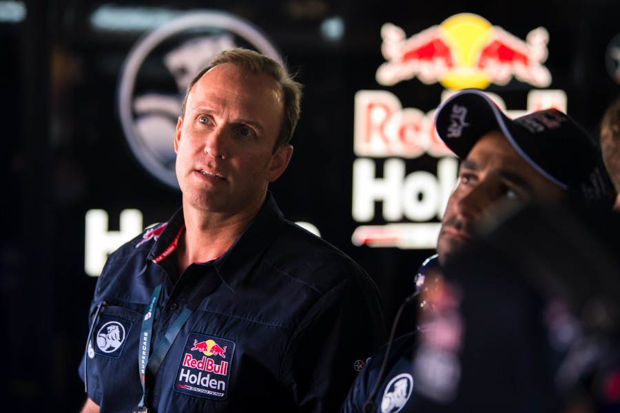 Harland in the Red Bull garage in Adelaide