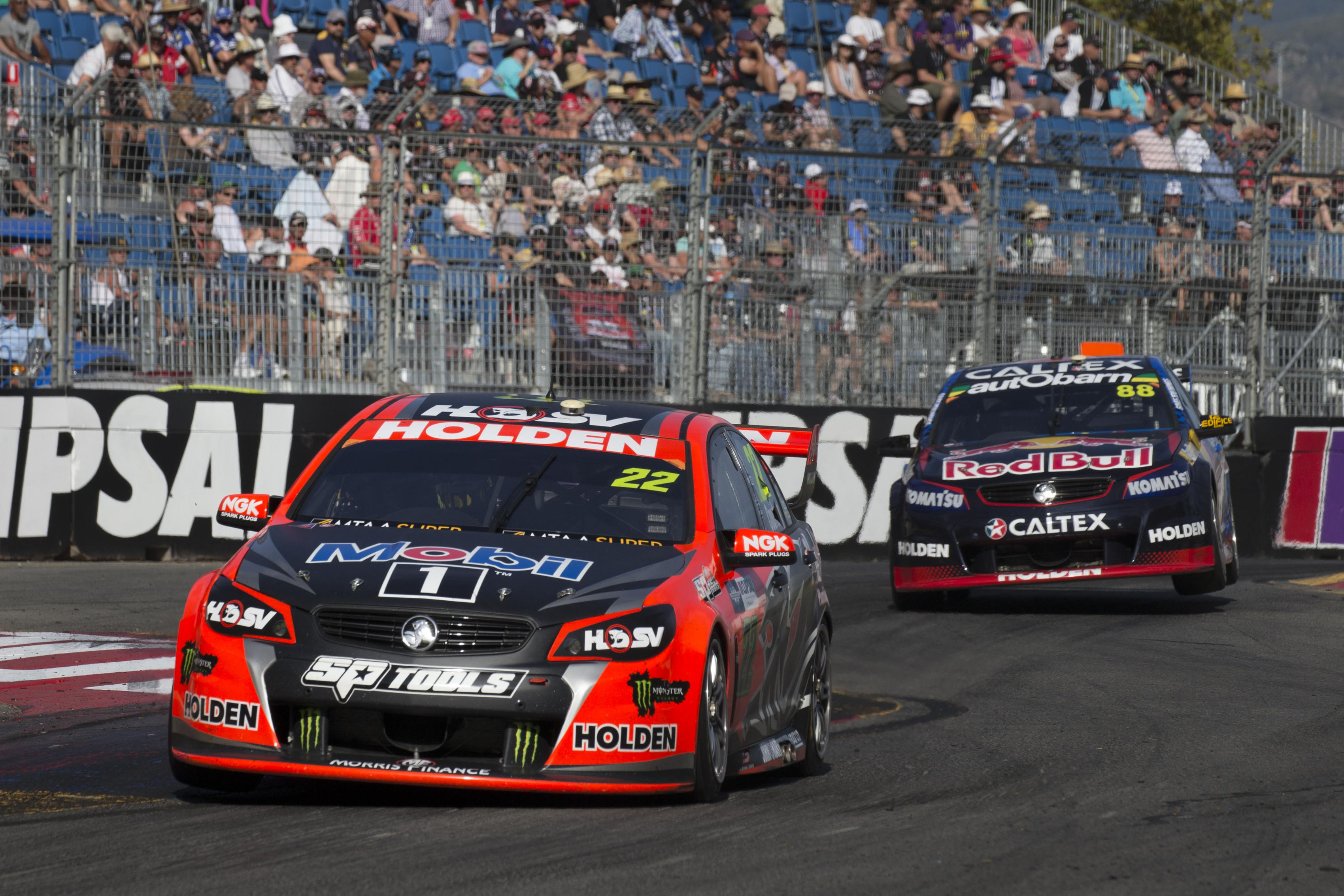 James Courtney of the Holden Racing Team winner of race 2 of the Clipsal 500,  at the Adelaide Street Circuit, Adelaide, South Australia, March 05, 2016.