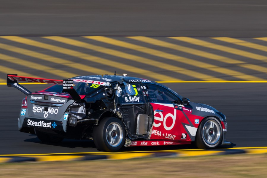 Rick Kelly's car after its tyre failure on Sunday