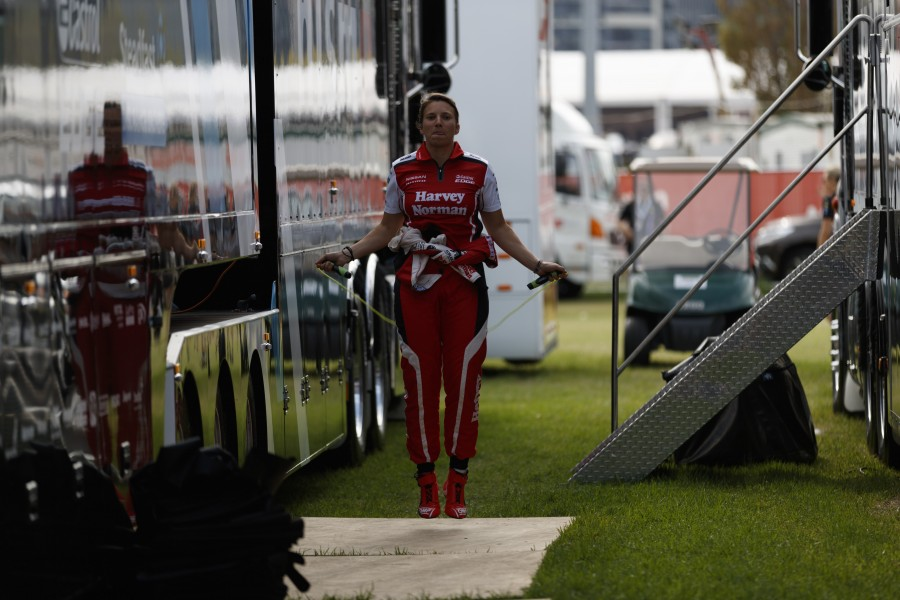 De Silvestro gets in some extra training between races and team transporters