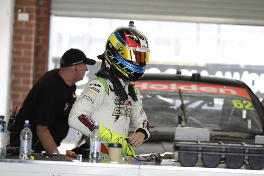 Rullo after his first run in Car 62 at the Sydney tyre test this morning.