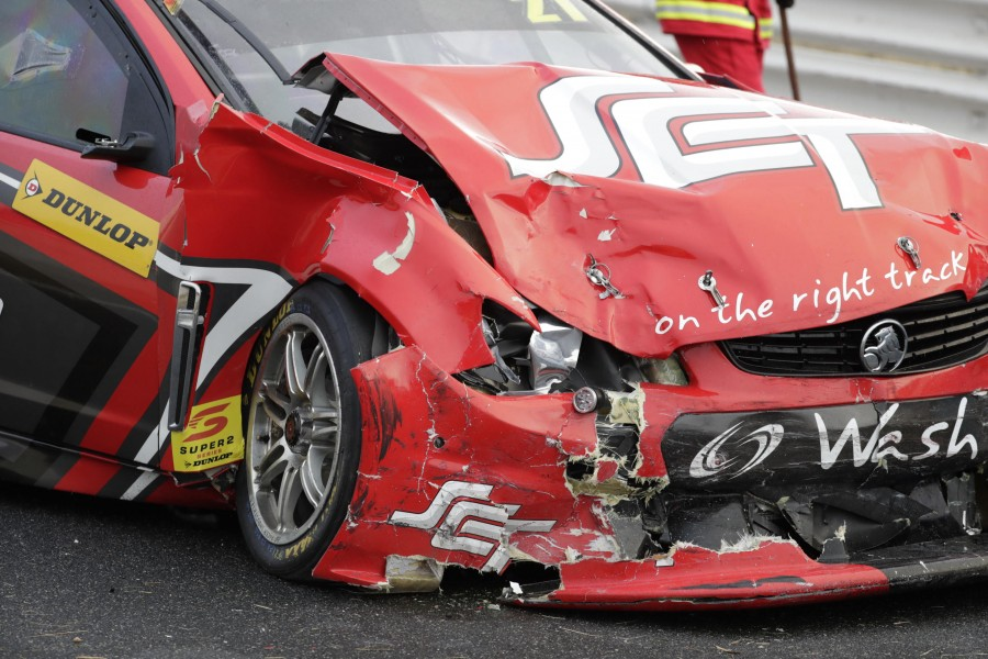 Smith's Holden after its crash at Symmons Plains