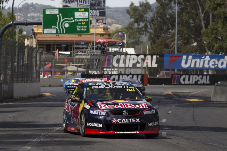 Jamie Whincup of Red Bull Racing Australia wins race 1 of the Clipsal 500,  at the Adelaide Street Circuit, Adelaide, South Australia, March 05, 2016.
