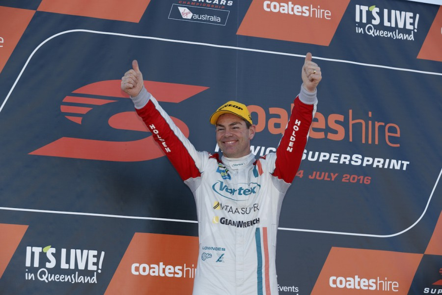 Craig Lowndes of Caltex Racing during the Coates Hire Ipswich SuperSprint,  at the Queensland Raceway, Ipswich, Queensland, July 24, 2016.