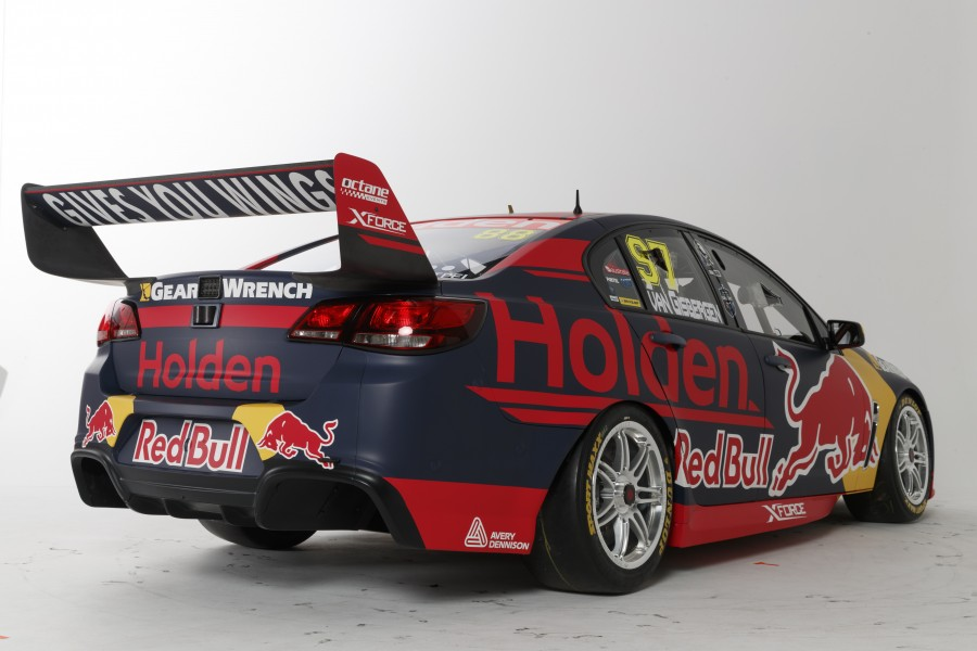 The 2017 Red Bull Holden Racing Team Commodore from the rear.