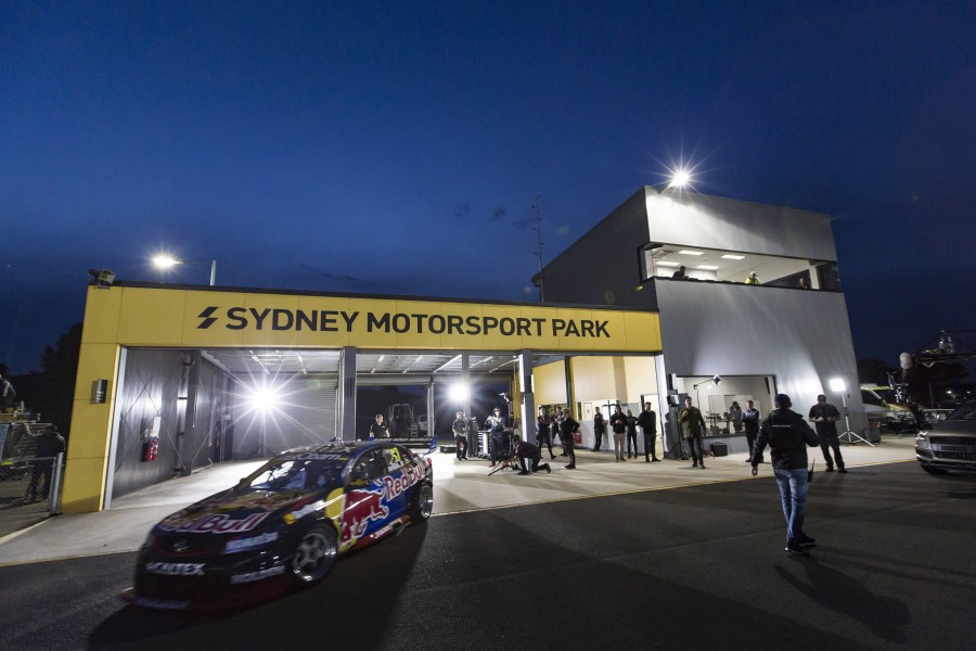 Red Bull's drift car under lights at SMP in 2016