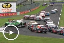 Prodrive teammates tangle at the start of Race 24