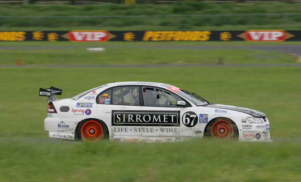 NASCAR's Dale Earnhardt Jr tested Paul Morris' 2006 Holden Commodore VZ V8 Supercar at Queensland Raceway while on holiday in Australia. Earnhardt Jr quickly set competitive lap times. December 2007