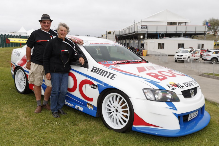 Dave and Pauline with a Jason Richards showcar in the Pukekohe paddock