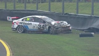 Race suspended after Golding crash