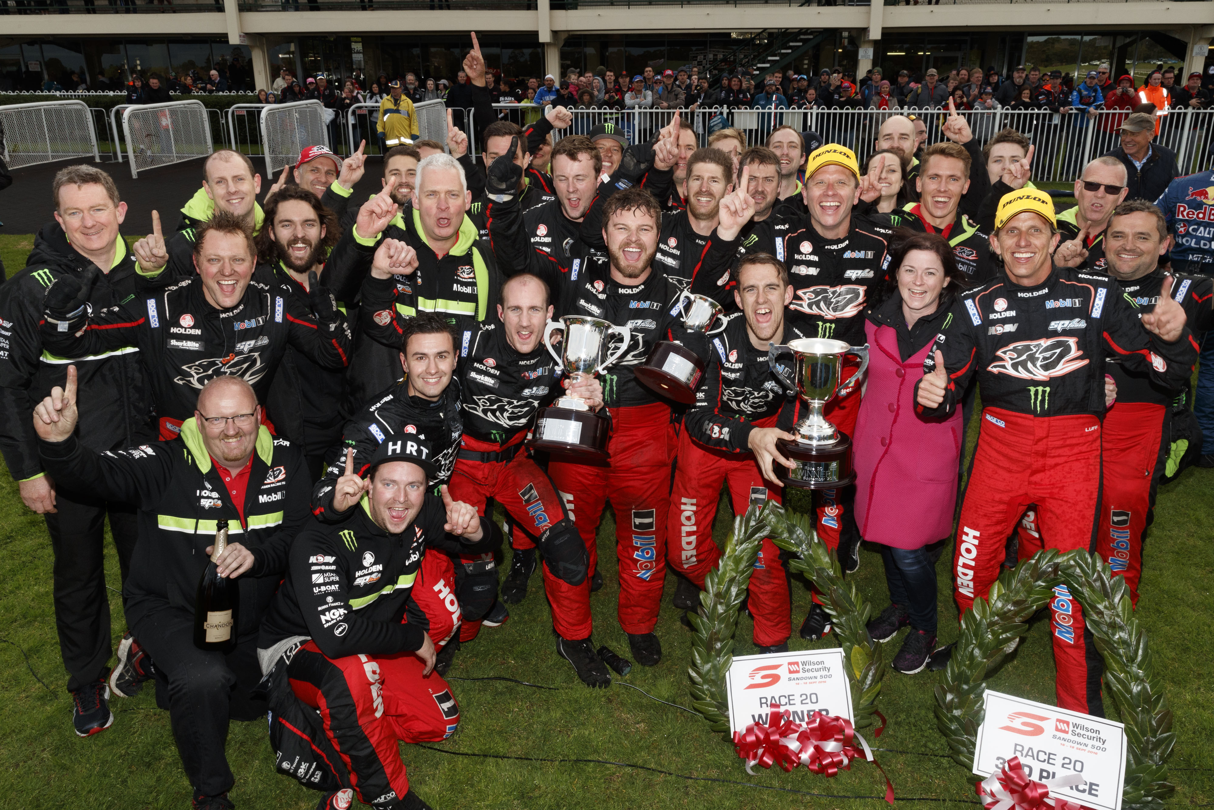 Garth Tander and co driver Warren Luff of the Holden Racing Team win the Wilson Security Sandown 500,  at the Sandown International Motor Race, Melbourne, Victoria, September 18, 2016.
