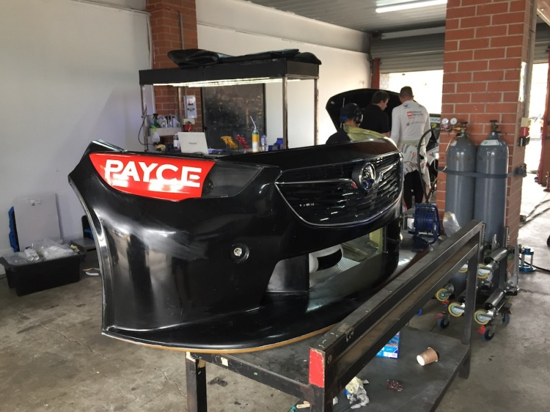 Tander's spare splitter being repaired in the GRM garage
