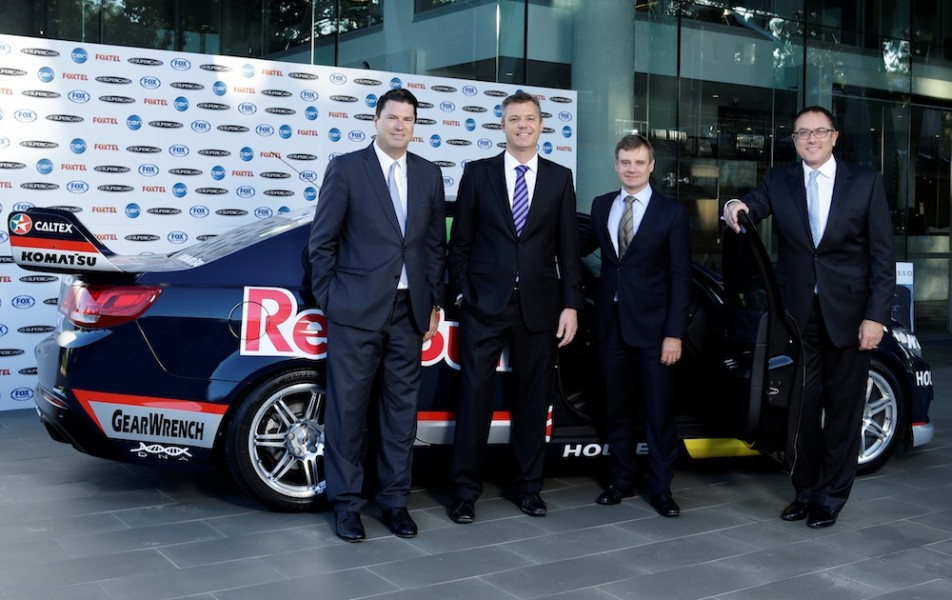 From left: Ten's Hamish McLennan, Warburton, Foxtel's Richard Freudenstein and Fox Sports' Patrick Delany in 2014