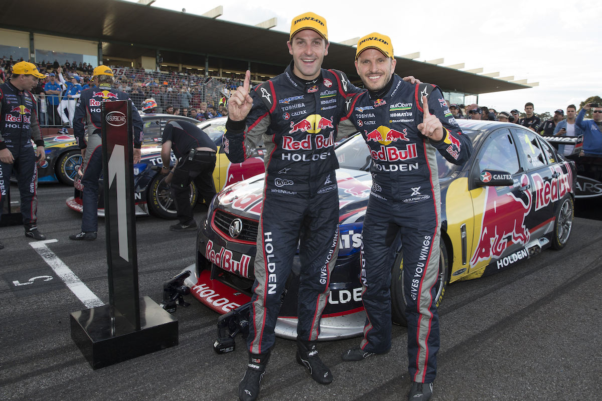 Jamie Whincup and Paul Dumbrell of Red Bull Racing Australia after winning the 2013 Sandown 500, event 10 of the 2013 Australian V8 Supercar Championship Series at the Sandown International Motor Raceway, Melbourne, Victoria, September 15, 2013.