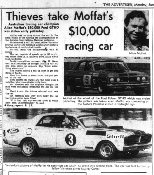 The Adelaide Advertiser's report on the Moffat/Carter swap