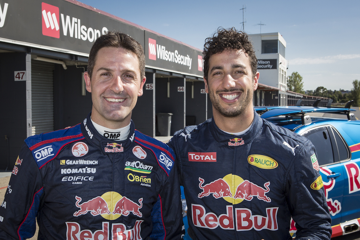 Daniel Ricciardo, Jamie Whincup and the Triple Eight Sandman at Sandown Raceway, Australia on March 16, 2016.