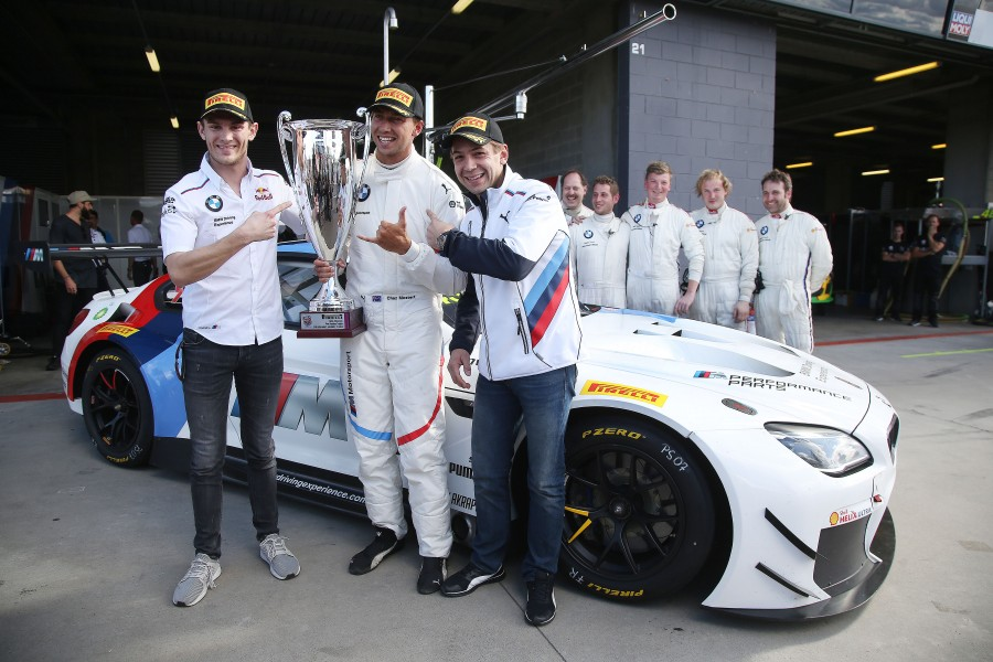 Bathurst (AU) 03rd February 2018. BMW Motorsport, Bathurst 12 Hour, Marco Wittmann (GER), Pole Setter Chaz Mostert (AUS) with the Allan Simonsen Pole Position Trophy and Augusto Farfus (BRA), BMW  M6 GT3  Pro Class #43 .