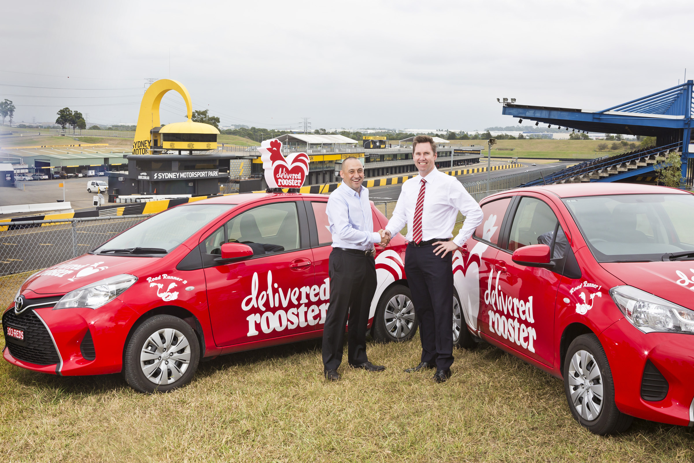 Red Rooster has signed a sponsorship deal with the V8s. Chris Green CEO of Red Rooster and Matt Braid Managing Director of V8s. Photo by Sarah Keayes