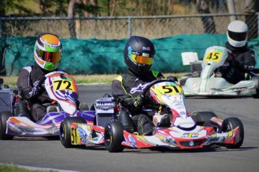 Ronan Murphy karting, complete with Greg's famous #51