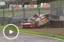 Coulthard rolls after collision with Reynolds