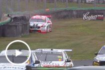 Courtney smacks the wall at Turn 6