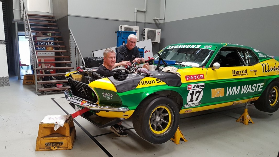 Steven and Dick working on Team Johnson's Mustang