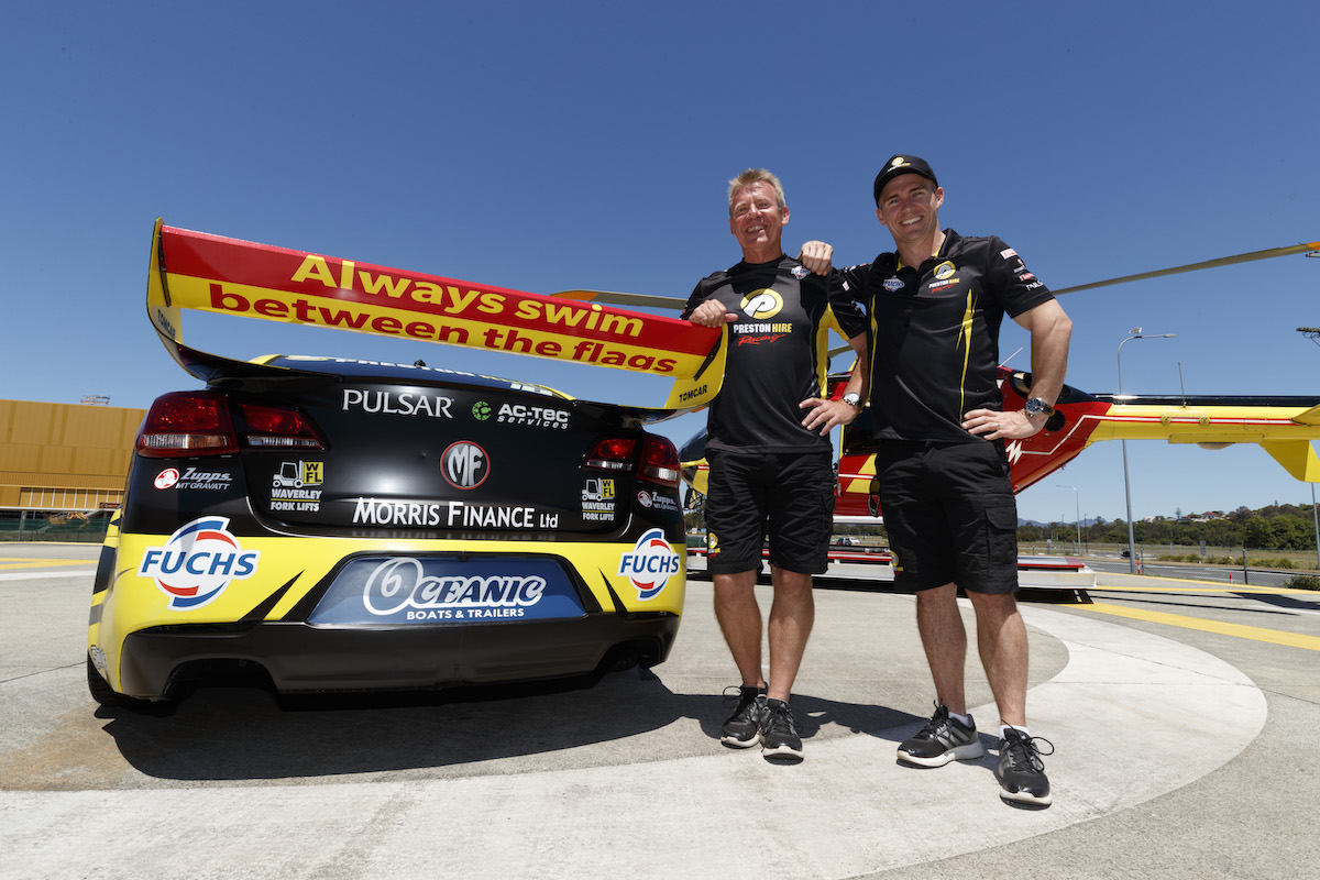Team owner Charlie Schwerkolt and Lee Holdsworth supporting Surf Life Saving Queensland during the Castrol Gold Coast 600, in Gold Coast, Australia, October 18, 2016.