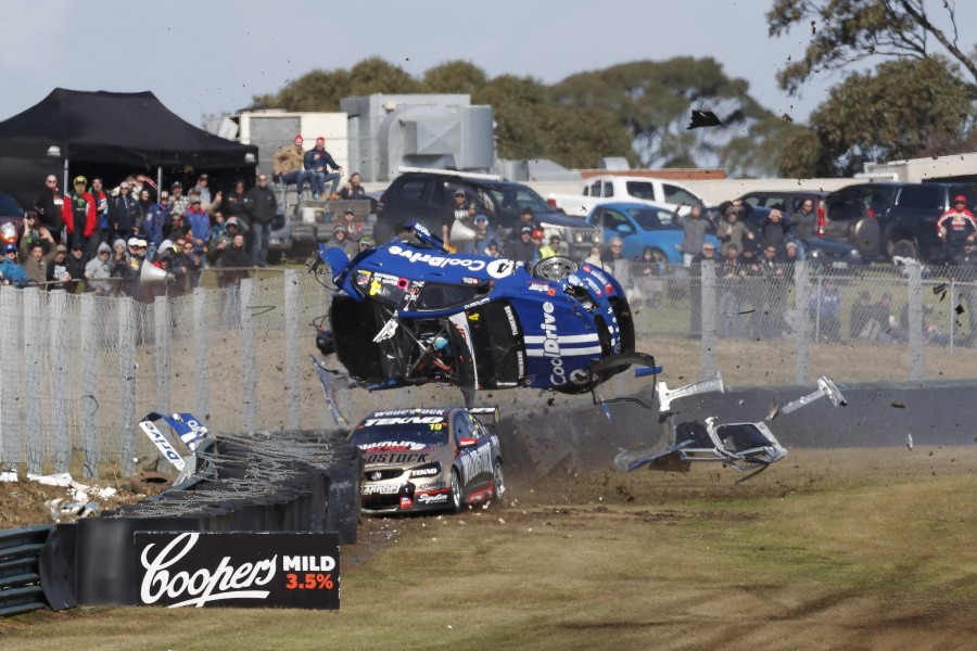 Today Hazelwood of Cool Drive Racing crashes out during the Wilson Security Sandown 500,  at the Sandown International Motor Race, Melbourne, Victoria, September 16, 2017.