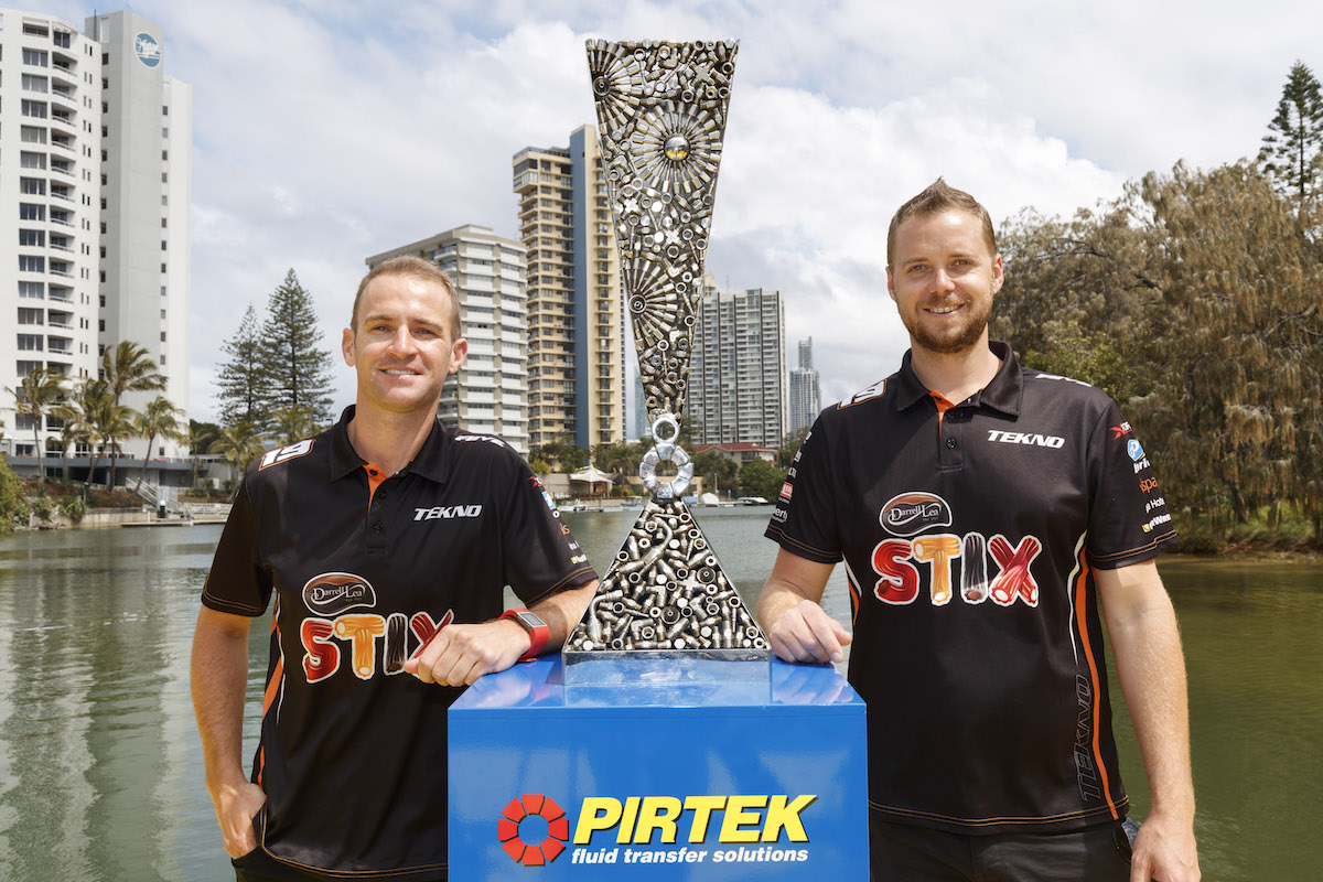 The Pirtek Enduro Cup makes a spectacular arrival to the Castrol Gold Coast 600 via powerboat. In the running to win the Pirtek Enduro Cup  Will Davison and Jonathon Webb,during the Castrol Gold Coast 600, in Surfers Paradise, Australia, October 20, 2016.