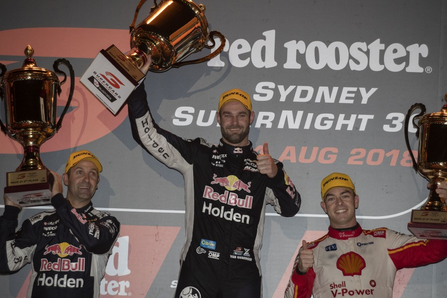 Shane van Gisbergen wins the Red Rooster Sydney SuperNight 300 event 10 of the Virgin Australia Supercars Championship, Sydney, New South Wales. Australia. July 4th 2018