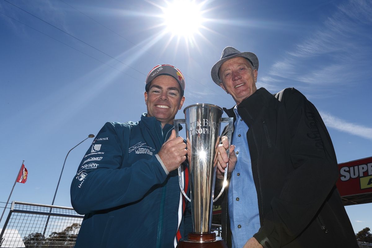 Craig Lowndes of Caltex Racing with Phil Brock during the Supercheap Auto Bathurst 1000,  at the Mount Panorama Circuit, Bathurst, New South Wales, October 05, 2016.