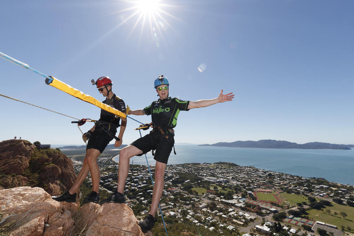 Reigning Supercars Champion Winterbottom and Kiwi driver Pither got a unique view of Townsville as they abseiled down Townsville's iconic Castle Hill to help launch North Queensland's biggest sporting event, the Castrol EDGE Townsville 400.
