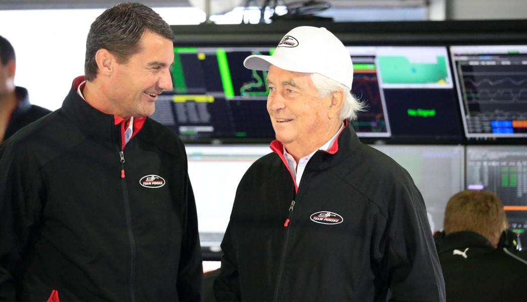 Cindric and Penske in the DJR Team Penske garage