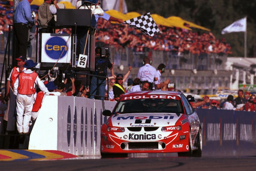 ADELAIDE 500 SHELL CHAMPIONSHIP SERIES 11/04/99: VICTORIAN driver Craig Lowndes driving his HRT Holden VT as he crosses the finish line to take victory in  the Shell Championship Series Adelaide 500 today. Pic by Mark Horsburgh