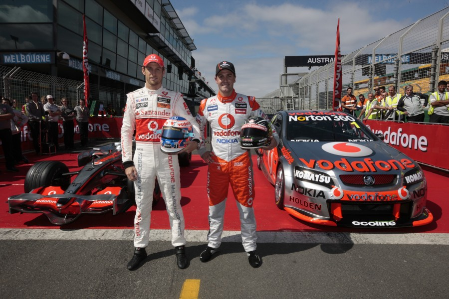 V8 Supercar Champion Jamie Whincup and F1 World Champion Jenson Button test drive eachothers cars toin the lead up to this weekends Australian GP during the Australian Grand Prix, in {city} at the Albert Park, Melbourne, Victoria, Tuesday, March 23, 2010.