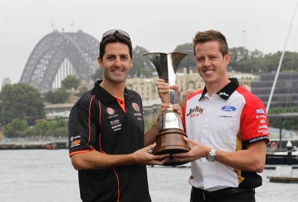 Jamie Whincup James Courtney Championship trophy 2010
