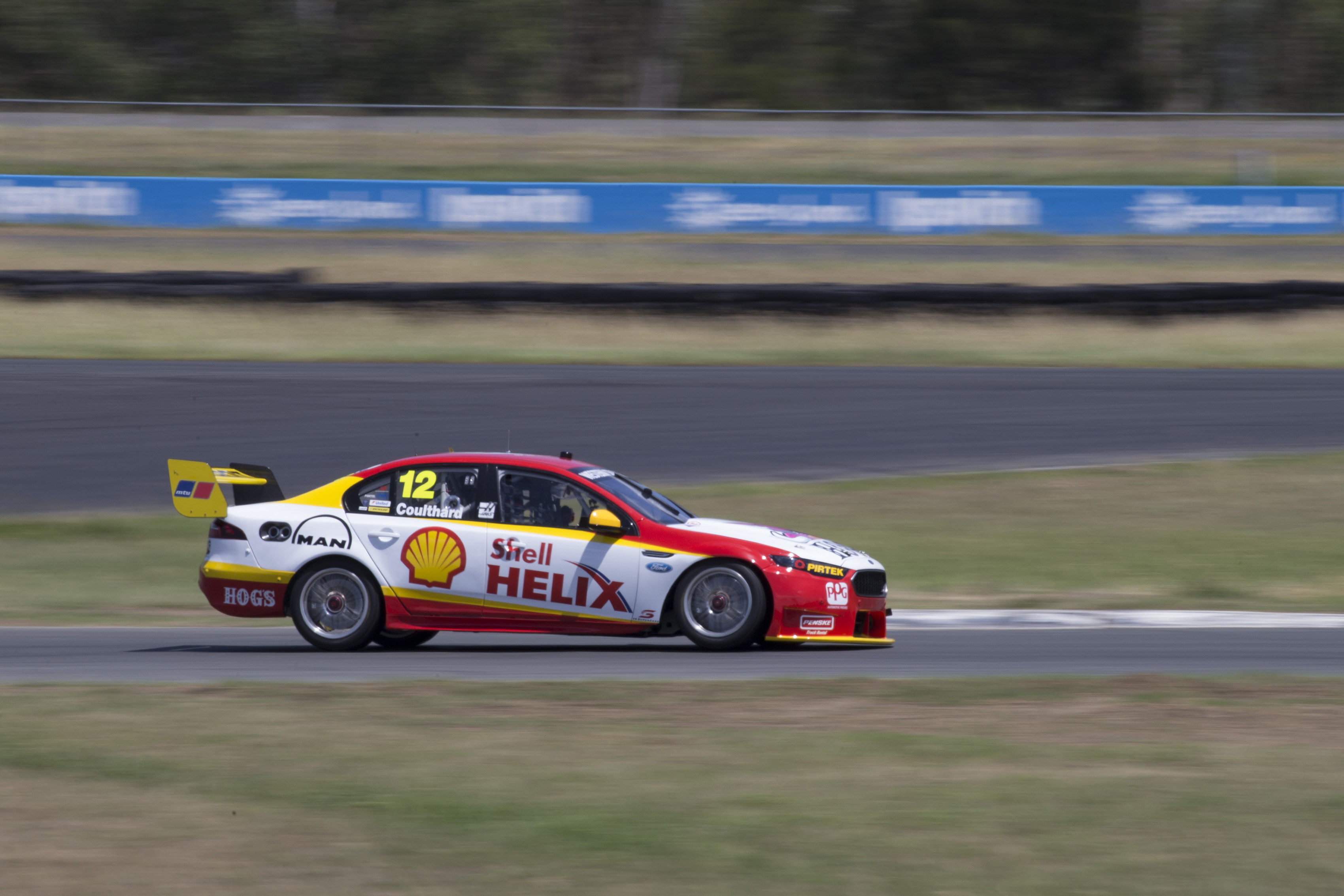 Fabian Coulthard during testing today at Queensland Raceway west of Brisbane  Australia, February 18, 2016.