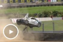 Toyota 86 rolls over fence