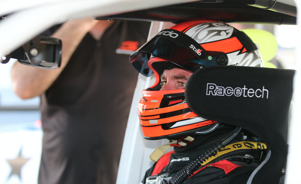 Baird behind the wheel of the Toyota
