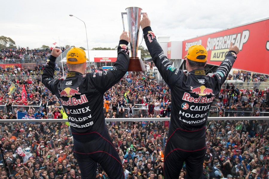 Craig Lowndes and Steven Richards of Red Bull Racing Australia win the Supercheap Auto Bathurst 1000,  at the Mount Panorama Circuit, Bathurst, New South Wales, October 11, 2015.